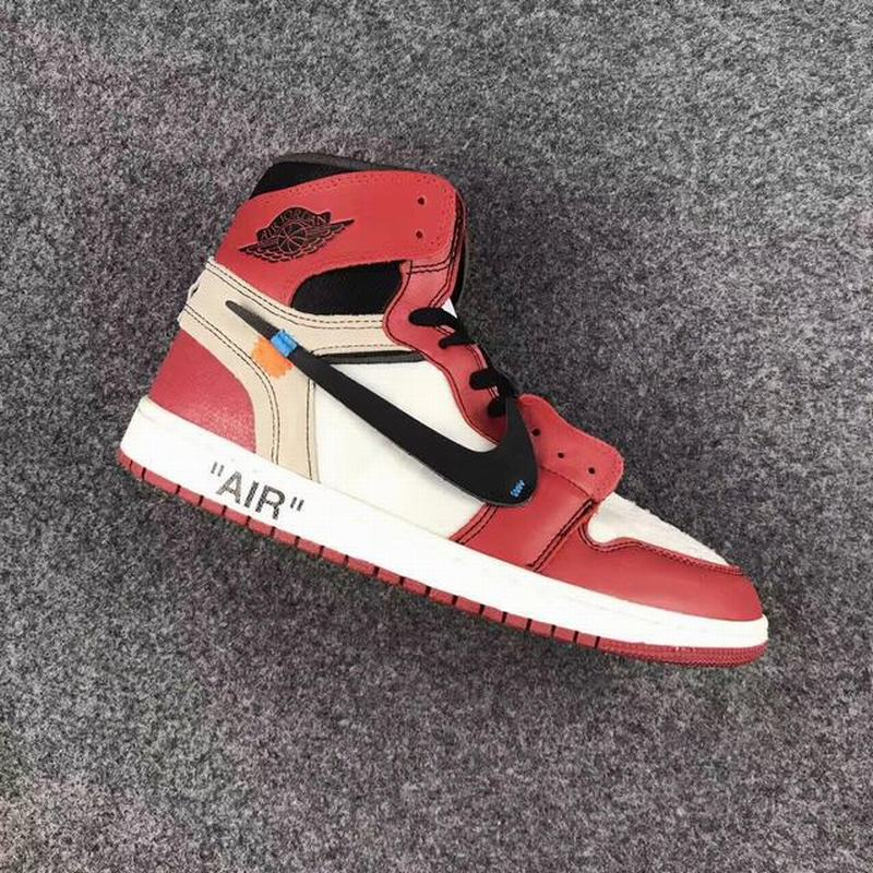 Off White x Air Jordan 1 Union High Unisex Casual Shoes Red White Black